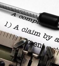 Claim form on typewriter